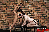 A stud drilled by a hot TS in bdsm action