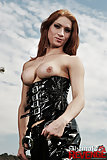 Mistress Adriana punishes her slave outdoors