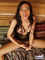 Ladyboy cumming on her tits