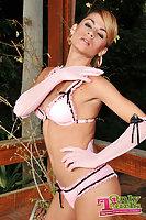 Svelte tgirl in pink lingerie