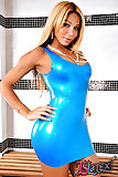Posh blonde in gorgeous latex dress