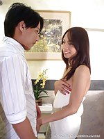 Delicious Asian shemale riding dick