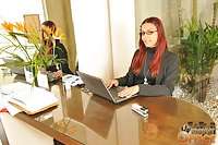 Red haired tgirl fucking with her loving boss