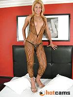 Blondie In Bodystocking Undressing & Jerking