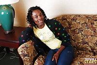 Ebony Shemale In Jeans Fondling & Fuck On Sofa