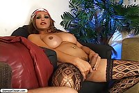 Busty Tranny In Stockings Gives Rimjob & Assfucks