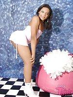 Shemale In Minidress Posing & Fondling Balls