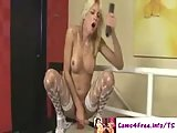 Blonde Tgirl Fucks Her Ass With A Dildo