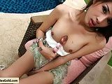 Asian pretty ladyboy masturbating outdoors