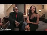 Big dicked black tranny sucks dick in hotel room