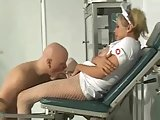 Busty blonde TS nurse treats her patient
