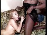 Blonde girl fucks with ebony tranny & guy