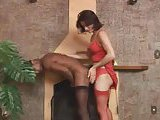 Tranny in red fucks a black guy