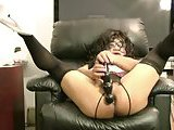 Curly CD In Stockings Dildoing On Web