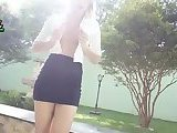 Sweet Blonde Shemale Outdoor Wanking