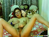 Nerdy Tranny Playing her Big Hard Cock
