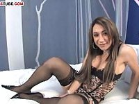 Tgirl has fun with her dick