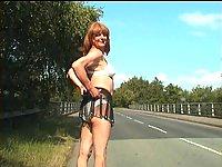 Shameless crossdresser solo outdoor