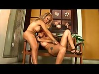Titty tranny and girl hardcore on a floor