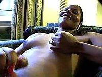 Ebony Tgirl jerks at home