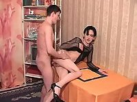 Skinny Shemale In Body Net Gets Pounded