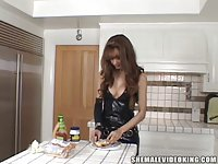 Tgirl Cooking Nice Cream For A Dinner