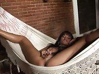 Wanking in a hammock