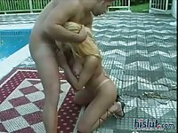 Sexy blonde shemale pounded hot poolside