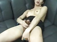Horny ladyboy with her sex toys