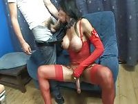 Tgirl in red lingerie drills a chap