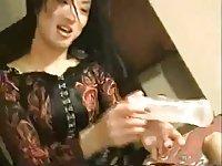 Cute asian CD blows a cock pov