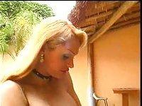 Blonde Tgirl fucks hairy pussy