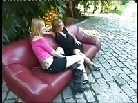 Blonde shemale in outdoor threesome