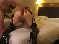 Homemade anal with a crosdresser in lingerie