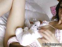 Sexy slim shemale Alisha toys her ass
