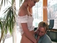 Blonde with small tits in white lingerie