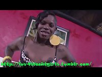 Thick Black Shemale beats cock and shows ass