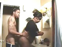 Homemade act with a black bbw TS