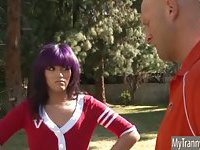 Cheerleader TS Dahlia Diamond assfucked