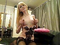 Cute lingeried blonde tranny webcam solo