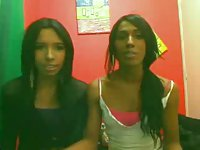 South American tgirl lesbians suck and jerk on the webcam