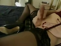 Blonde tranny in stockings doggystyled