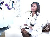 Tgirl doctor Carmen Monroe gives anal service to her patient