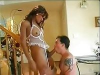 Tranny in white lingerie rides cock