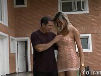 Big ass and busty blonde tranny deepthroat then analized