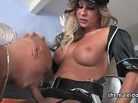 Tranny cop Ariel Everitts in oral service and hardcore anal sex