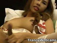 Tranny babe shoots cum