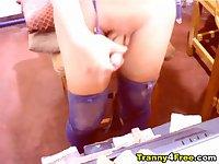 Big Tits Tranny Plays her Cock