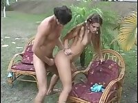Slim Shemale Gets Banged Outdoor