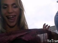 Attractive blonde tranny give head then screwed from behind